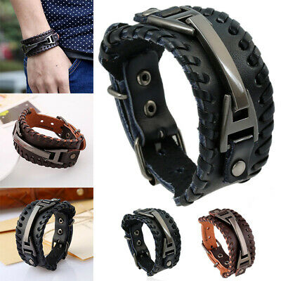Men's Wide Leather Band Bracelet Buckle Metal Style Wristband Bangle Black Brown