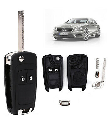 2 Button Remote Flip Key Fob & Blade For Vauxhall Opel Astra Insignia Black