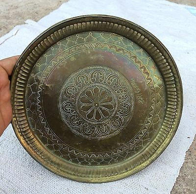 Old Early Rare Beautiful Hand Carved- Delicate Floral Design Carving Brass Plate