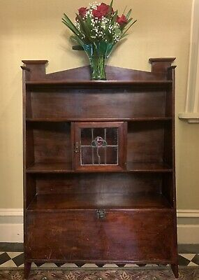 Antique Vintage, Art Deco Wooden Display Cabinet With Leadlight, Shelves/Wot Not