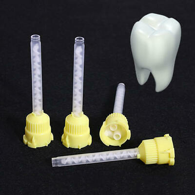 100Pcs Dental Silicone Impression Material Mixing Tips Yellow Color Disposable