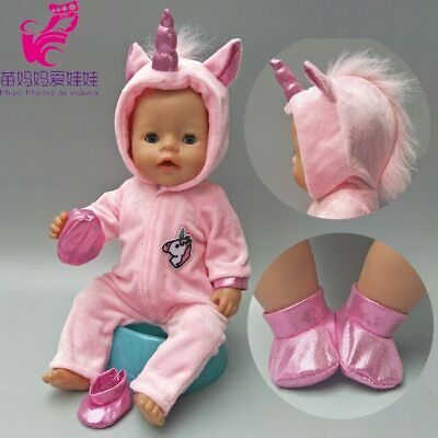 "Doll Clothes For 43Cm Born Baby Doll Coat Unicorn Hoodie Set 17"" Reborn BabyDoll"