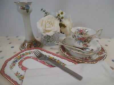 Beautiful mismatched china cup, side plate, spoon, napkin & glass vase