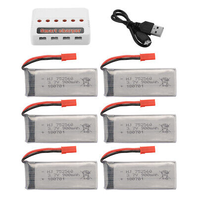 4pcs/6pcs 3.7V 900mAh Rechargeable Battery + 6-port Charger for 8807/8807W Drone