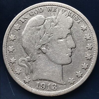 1913 Barber Half Dollar 50c Rare Key Date Better Grade #8940