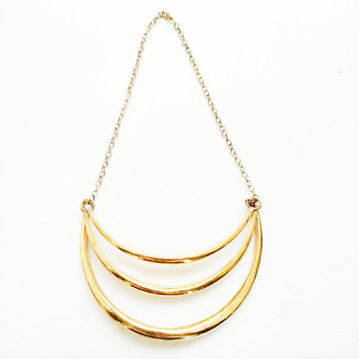 Brass Necklace Antique Texture Oxidised Brass Metal Fashion Jewelry Gold Plated.