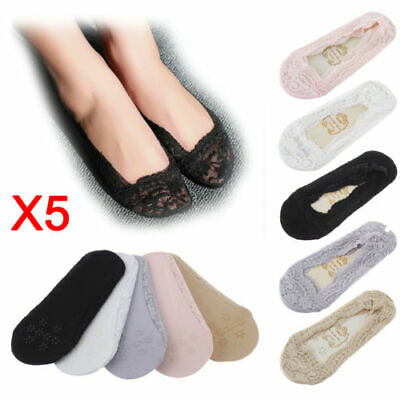 1/5Pairs Women Lady Footsies Invisible Skin Shoe Liners Thin Lace Socks Non-slip