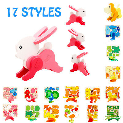 Christmas Kids Baby 3D Wooden Wood Animal Puzzle Learning Educational Block Toy