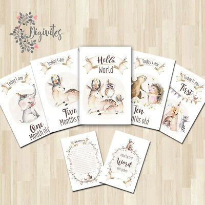 Unisex Woodland Baby Milestone cards, Baby Photo props, Baby Keepsakes, Shower