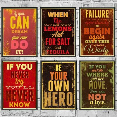 Inspiration Motivation Positive Quotes Retro Poster Home Wall Decor Print A3 A4