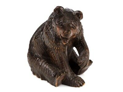 c1905 Black Forest Carved Wooden Seated Bear Ornament