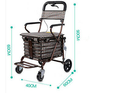 Bronze Four Wheels Convenient Foldable Shopping Luggage Trolleys With Seat *!