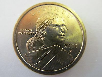 Two - 2000P Native American Sacagawea Golden One Dollar Uncirculated Coin