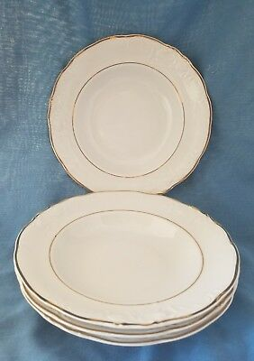 4 Royal Kent Rimmed Soup Bowl Porcelain Bone China White Gold Trim Poland