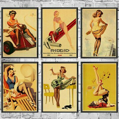 Sexy Pin Up Girls World War II Retro Vintage Paper Poster Home Wall Decor A4 A3