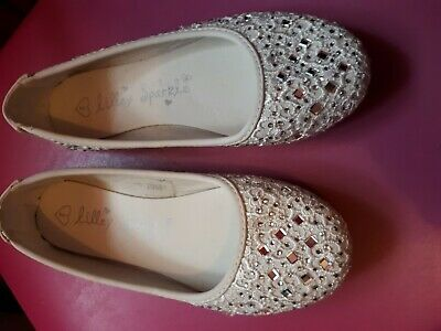 Girls White  Shoes size uk2 lilley Sparkle