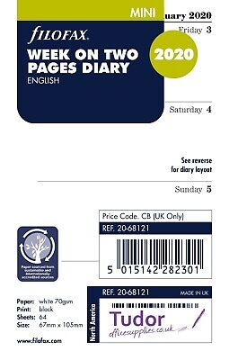 Filofax 2020 Mini size Diary Week On Two Pages Refill Insert 20-68121