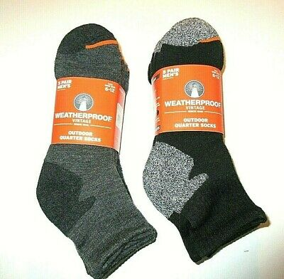 Weatherproof Mens Outdoor quarter socks Pack of 5 Pair NWT Free Ship Size 6-12