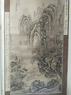 Very long Chinese Silk Scroll landscape Painting Signed