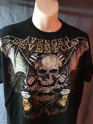 9b7e9ad15 Vintage Large Avenged Sevenfold Band Black T-Shirt A7X Winged Skull Bat  SHIP NOW