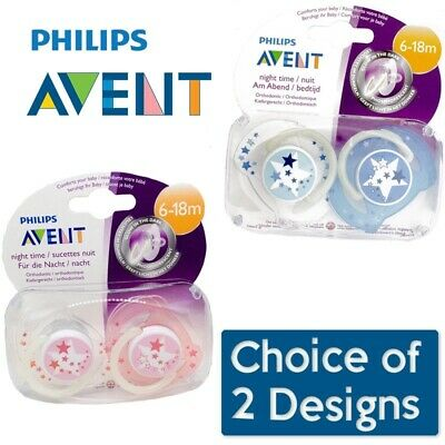 Avent Night Time Soother Twin Pack 6-18m CHOICE OF COLOUR (A50)