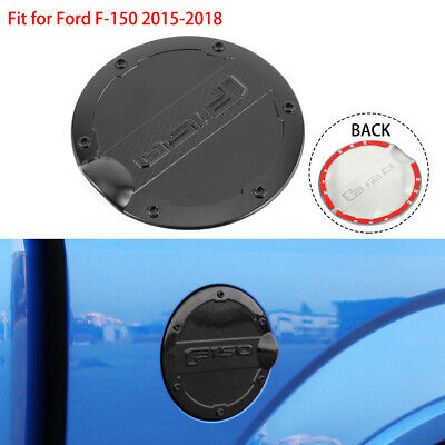 Fuel Filler Cover Gas Tank Cap Round ABS fit for Ford F-150 2015-18 Black 1pc