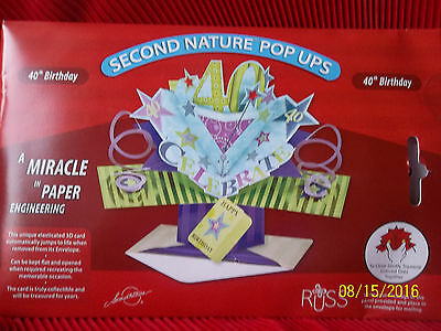40th Birthday Card 3D Pop Up Greeting By RUSS Cake Topper Centerpiece NIB