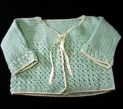 Baby Girl Green and White Sweater Hand Crocheted Vintage 1950s