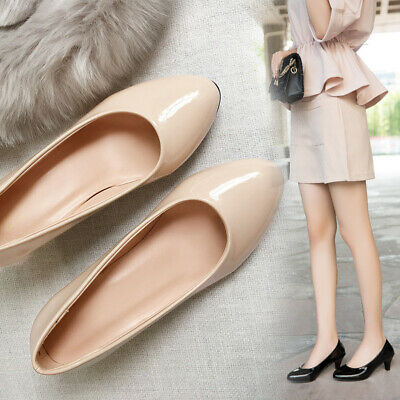New Womens Low Mid Heels Slip On Court Shoes Ladies Comfy Pumps Party Work Size
