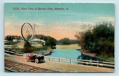 Waterloo Ia C1912 Electric Park Amut Postcard Rollercoaster Old Car