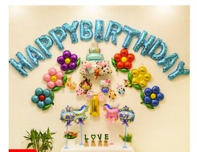 D42 Blue Foil Balloons Alphabet /Number Birthday Weding Party Balloon Decoration