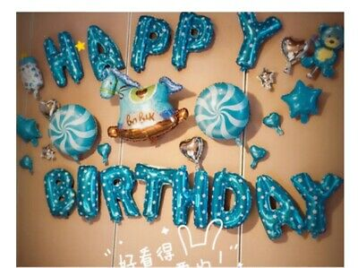 D44 Windmill Blue Foil Balloons Alphabet /Number Birthday Weding Party Balloon