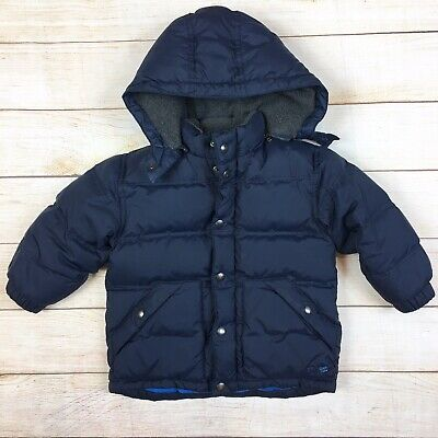 cb23faebe BABY GAP 3T Boys Navy Blue Down Filled Winter Coat Jacket Fleece-Lined  Toddler
