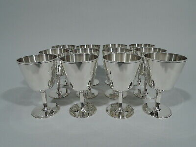 Tiffany Goblets - 21378 - 12 Art Deco Cocktail Cups - American Sterling Silver