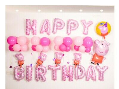 D48 Pink Pig Foil Balloons Alphabet /Number Birthday Weding Party Balloon