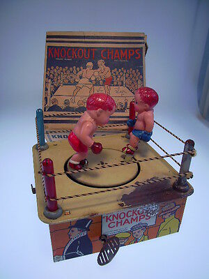 """Gsfi """"knockout Champs"""" Marx, Celluloid Boxers !, Windup Ok, In Very Good Box !"""