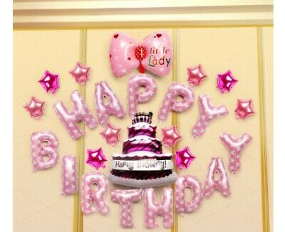 D38 Bowknot Pink Foil Balloons Alphabet /Number Birthday Weding Party Balloon