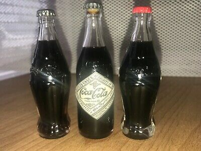 3 COCA COLA Miniature Glass Soda Bottles w/ Metal Caps & a Paper Label