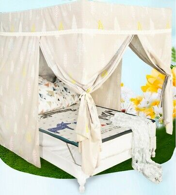 Double Cartoon Floor Type Dust Prevention Bed Canopy Mosquito Net Bed Curtain#