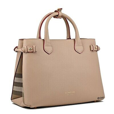 2360a47a73cc NWT Authentic Burberry Medium Banner Check Pale Apricot Leather Satchel