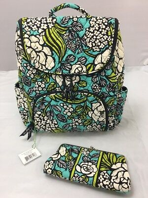 4883f1a420a9 Vera Bradley Retired Island Blooms Double Zip Backpack   Clutch Wallet RARE  ...