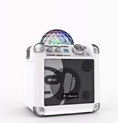 iDance BC100 Disco Lights Bluetooth Speaker With Microphone Sing Cube WHITE