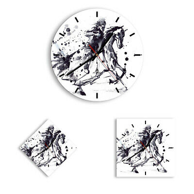 WALL CLOCK - CLOCK ON GLASS Horse Knight history riding 2985 UK