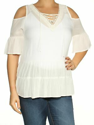 82b7aa5a82c0c BCX  39 Womens New 1496 White Ruffled Cold Shoulder V Neck 3 4 Sleeve Top