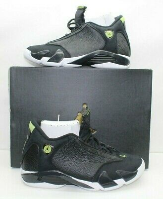 low priced 9cb73 34706 NIKE AIR JORDAN Retro 14 Indiglo Black & White Vivid Green Sz 9.5 487471 005