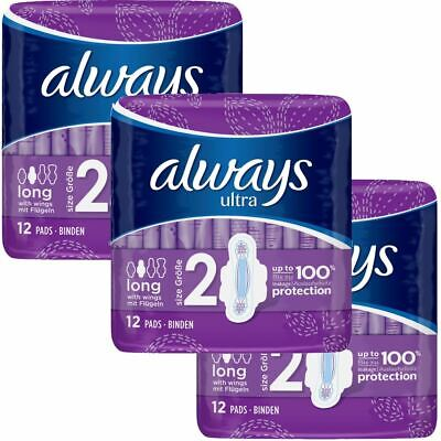 Always Ultra Long Sanitary Towels Pads Size 2 Womens Super Absorbent Pack of 36