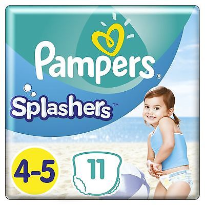 Pampers Splashers Swim Nappies Size 4 to 5 - Disposable Swimming Pants - 11 Pack