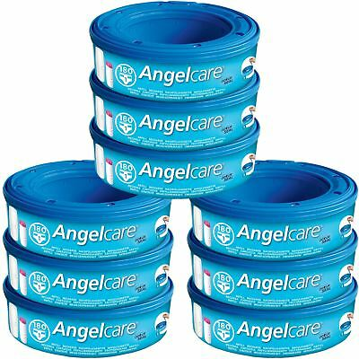 9 x Angelcare Nappy Disposal System Refill Cassettes Wrappers Bags Sacks 9 Pack