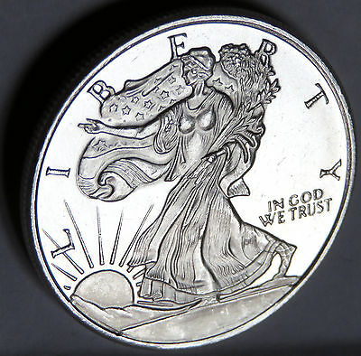 "Golden State Mint ""gsm"" Walking Liberty 1/2 Troy Oz .999 Fine Silver Old Round"