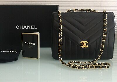 "928bb1b3c67497 Auth RARE Vintage CHANEL 9"" Quilted Chevron Black Lambskin Gold Chain Bag"